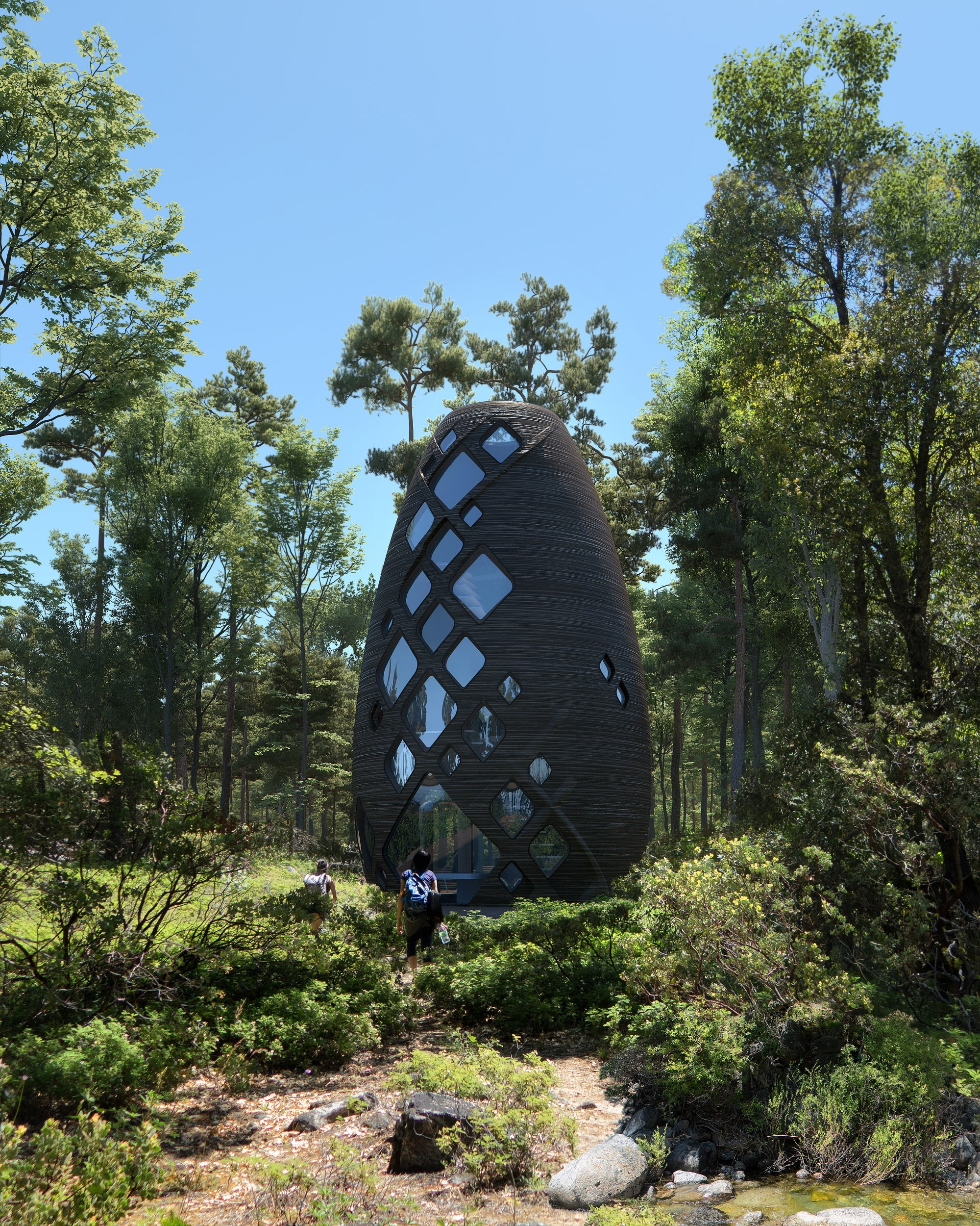 "The hive-shape house printed using a biopolymer composite developed from corn and sugar cane was designed by AI SpaceFactory (Tera project), a specialist in future habitats for ""planet Earth and other planets."""