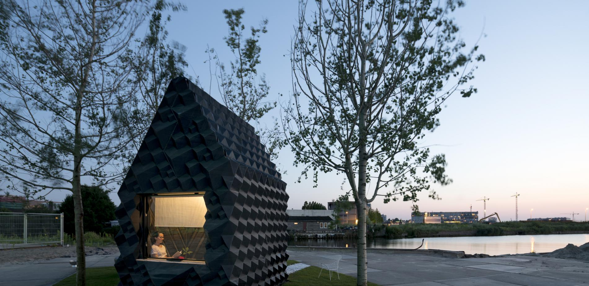 This odd-looking urban cabin was built in Amsterdam, Netherlands in 2015. Created by DUS Architects, it was printed in bioplastic and could serve as emergency housing and then destroyed and the material reused.