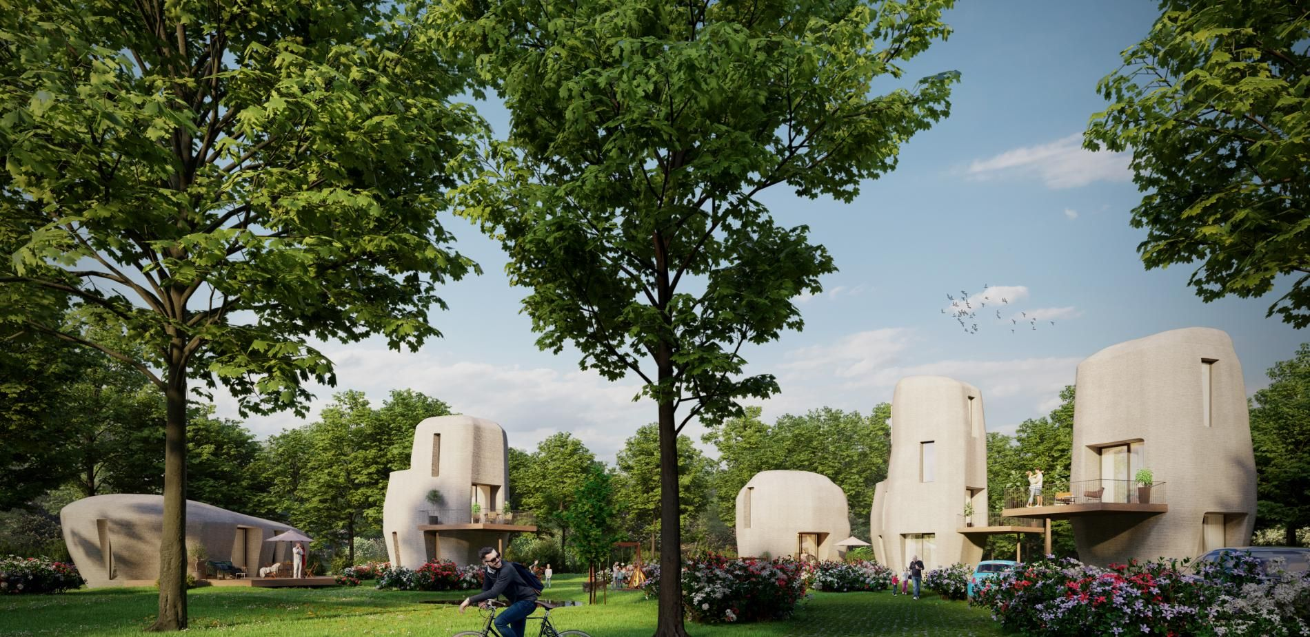Project Mileston, with its 5 boulder-shaped houses in Eindhoven, Netherlands, stands as the world's first commercial housing project entirely based on 3D printing.
